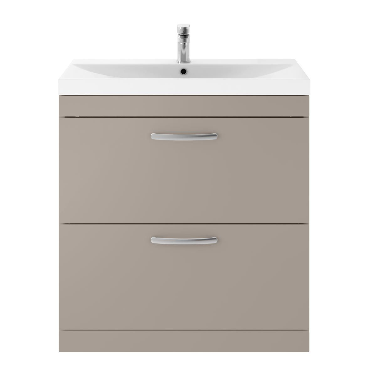 Nuie Athena Stone Grey 2 Drawer Floor Standing Vanity Unit with 50mm Profile Basin 800mm