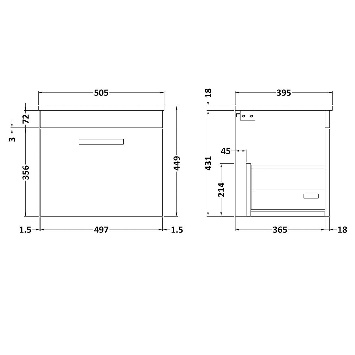 Nuie Athena Stone Grey 1 Drawer Wall Hung Vanity Unit with 18mm Profile Basin 500mm Line Drawing