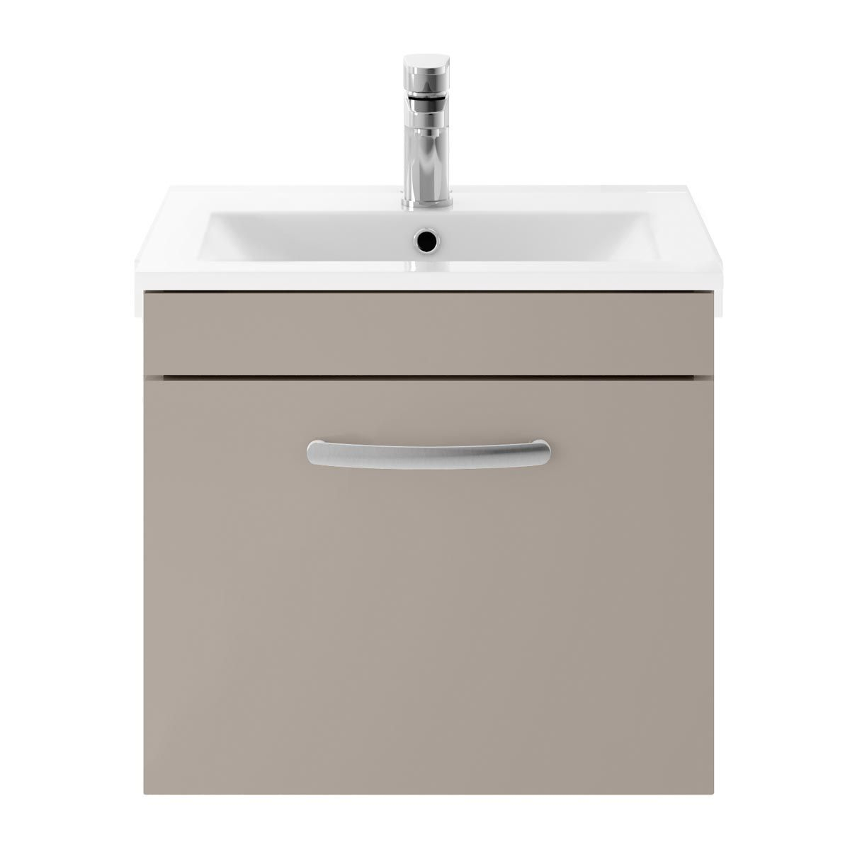 Nuie Athena Stone Grey 1 Drawer Wall Hung Vanity Unit with 18mm Profile Basin 500mm
