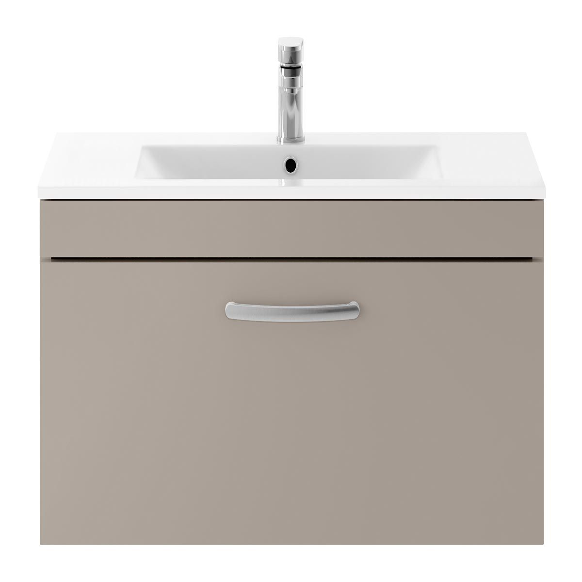 Nuie Athena Stone Grey 1 Drawer Wall Hung Vanity Unit with 18mm Profile Basin 800mm