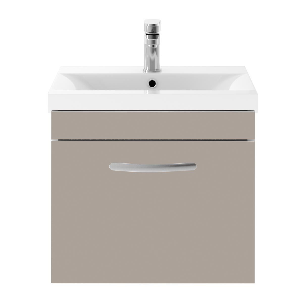 Nuie Athena Stone Grey 1 Drawer Wall Hung Vanity Unit with 40mm Profile Basin 500mm