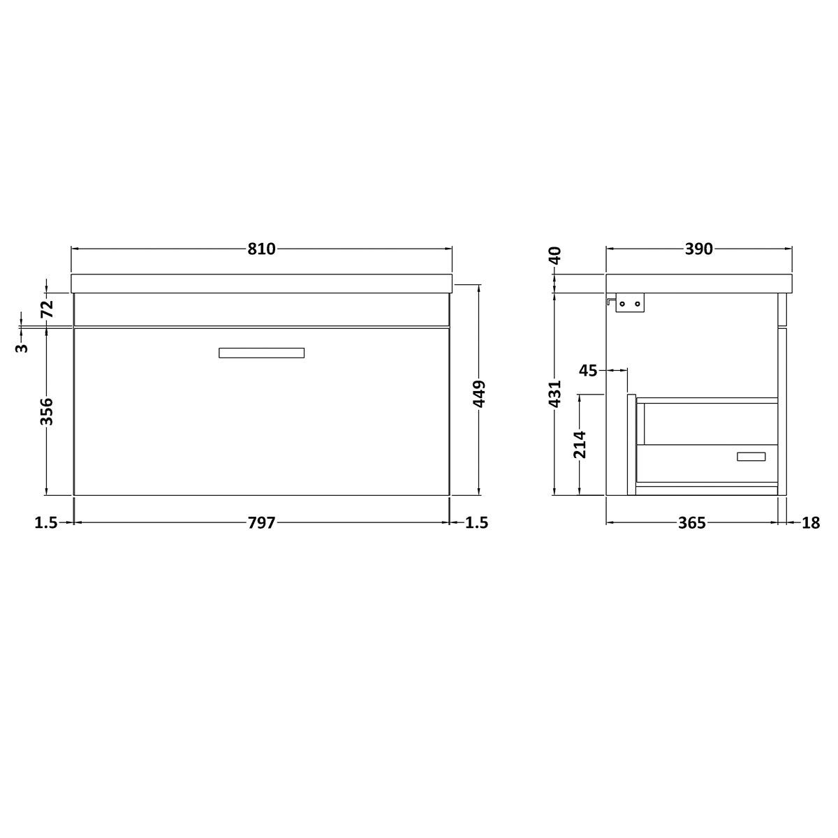 Nuie Athena Stone Grey 1 Drawer Wall Hung Vanity Unit with 40mm Profile Basin 800mm Line Drawing