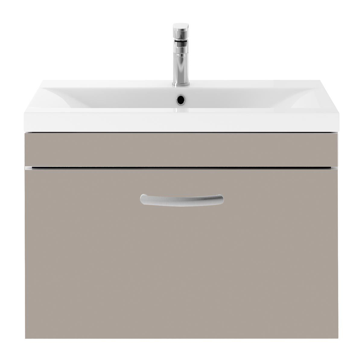 Nuie Athena Stone Grey 1 Drawer Wall Hung Vanity Unit with 40mm Profile Basin 800mm