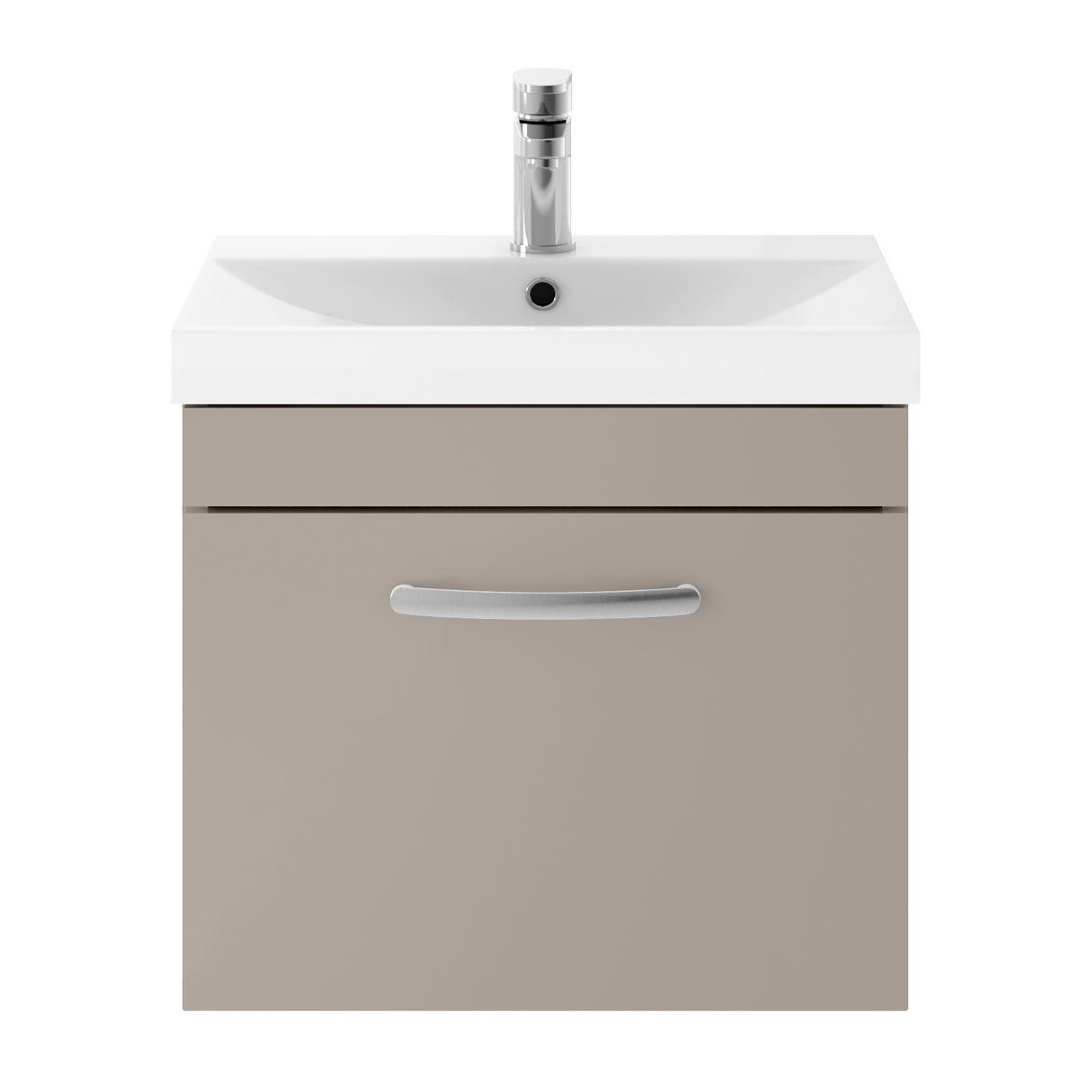 Nuie Athena Stone Grey 1 Drawer Wall Hung Vanity Unit with 50mm Profile Basin 500mm