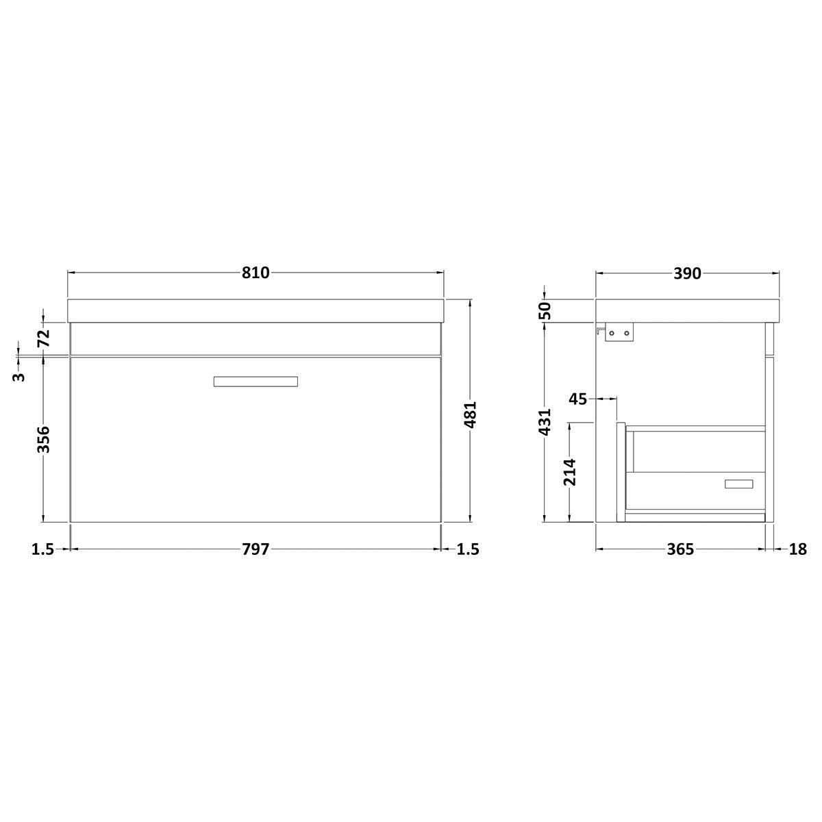 Nuie Athena Stone Grey 1 Drawer Wall Hung Vanity Unit with 50mm Profile Basin 800mm Line Drawing