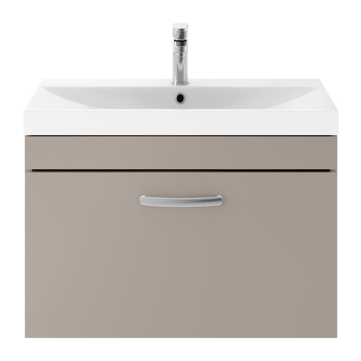 Nuie Athena Stone Grey 1 Drawer Wall Hung Vanity Unit with 50mm Profile Basin 800mm