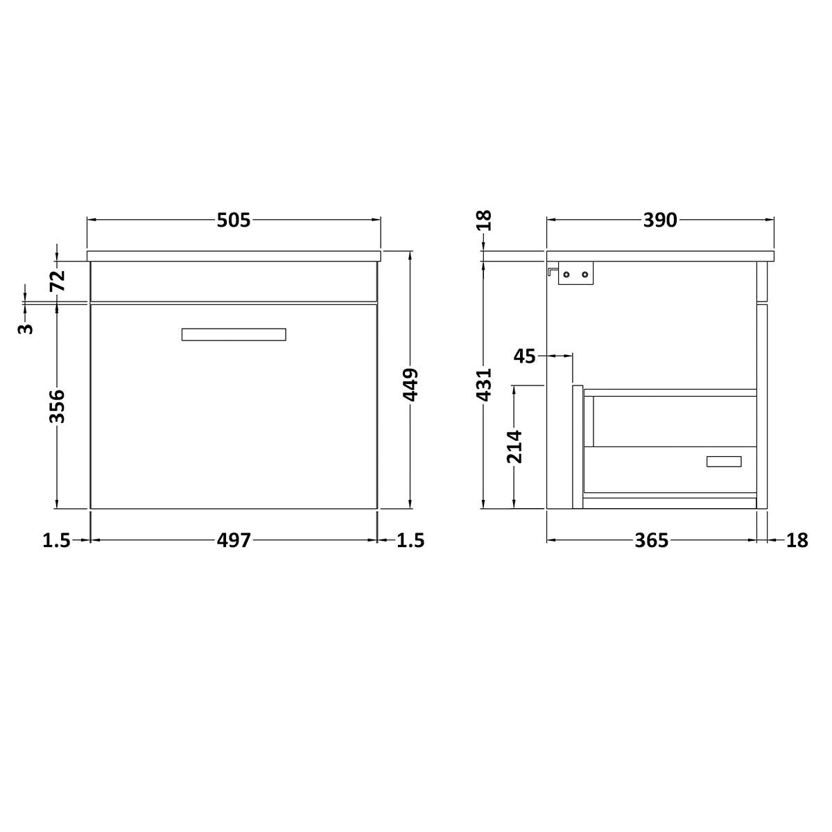 Nuie Athena Stone Grey 1 Drawer Wall Hung Vanity Unit with 18mm Worktop 500mm Line Drawing