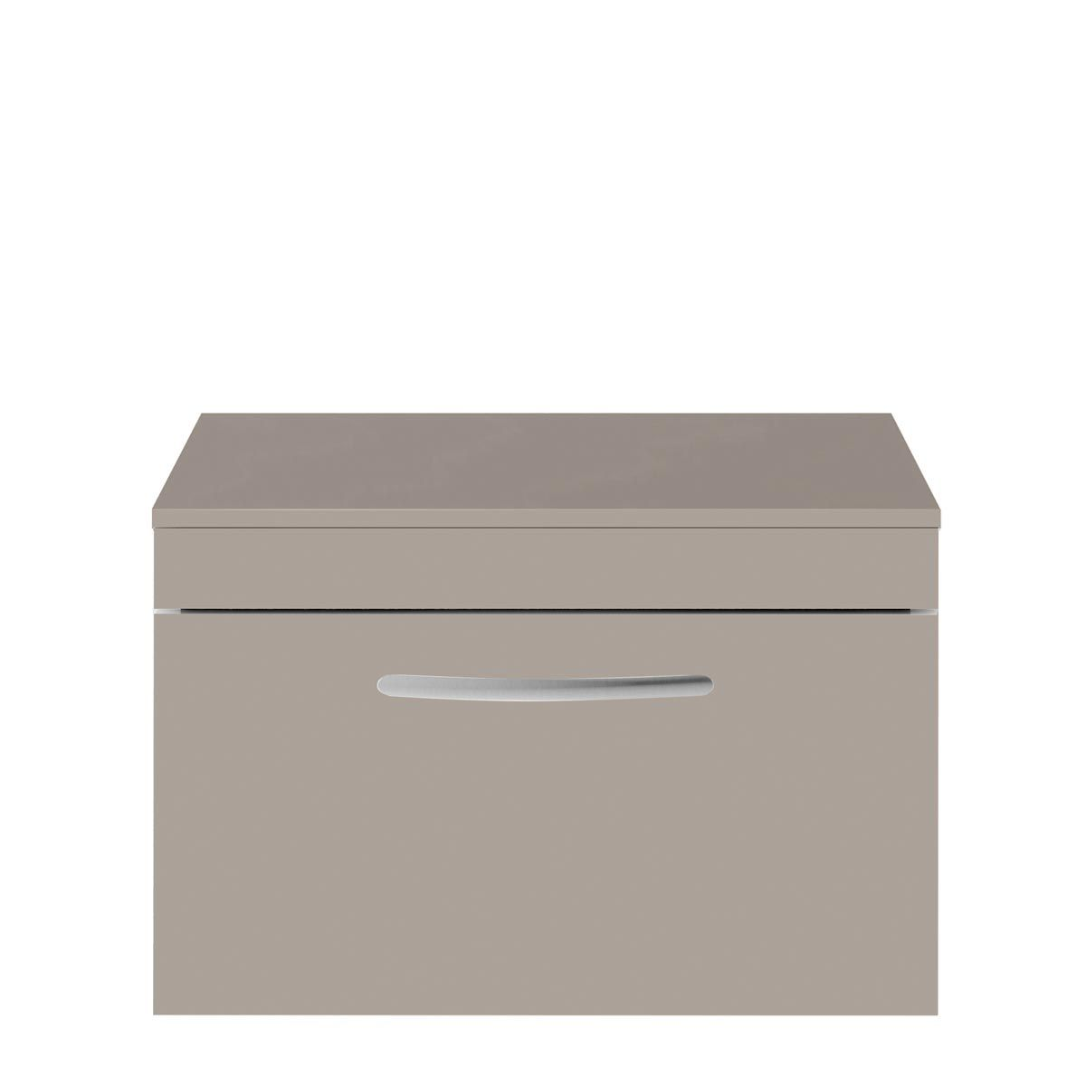 Nuie Athena Stone Grey 1 Drawer Wall Hung Vanity Unit with 18mm Worktop 500mm