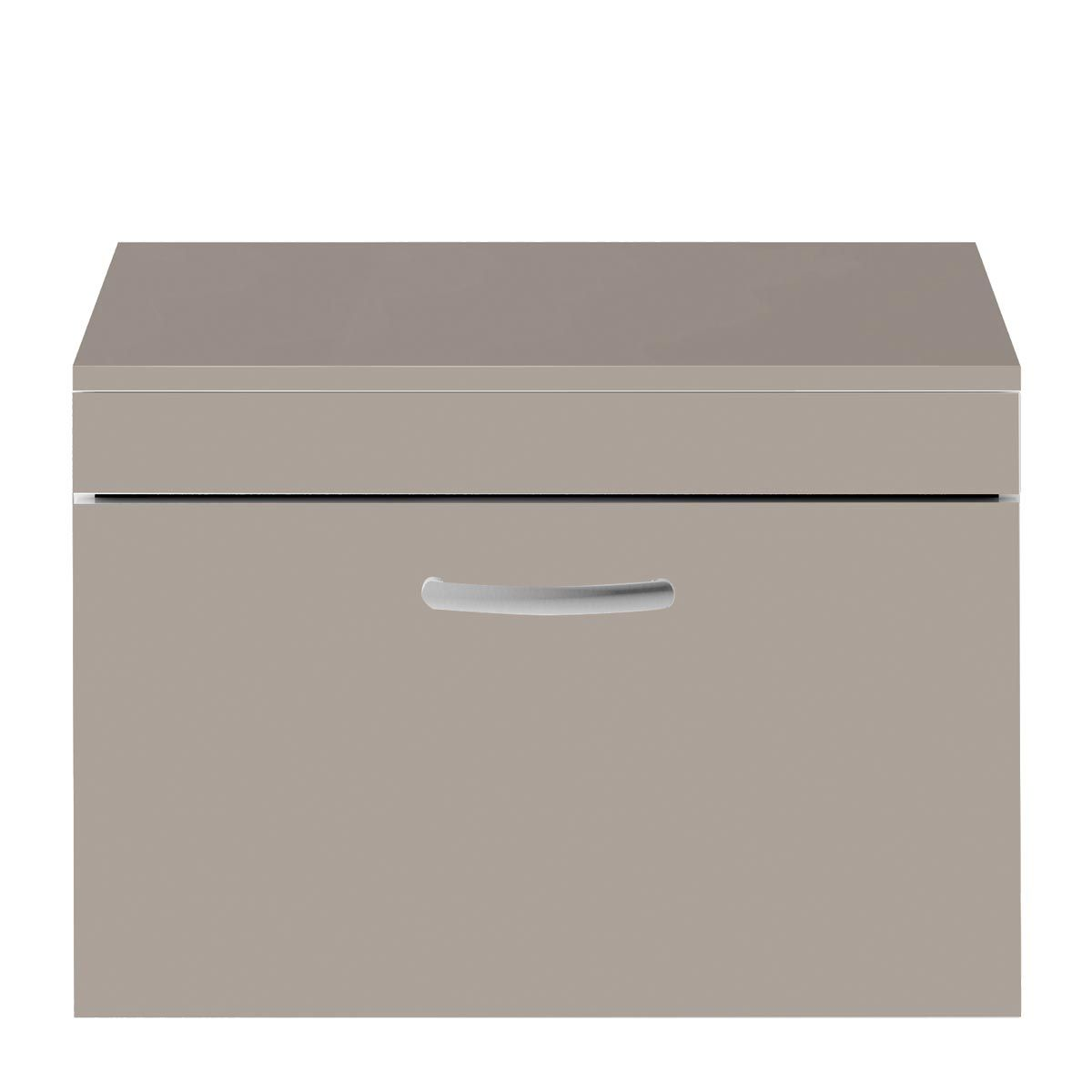 Nuie Athena Stone Grey 1 Drawer Wall Hung Vanity Unit with 18mm Worktop 800mm