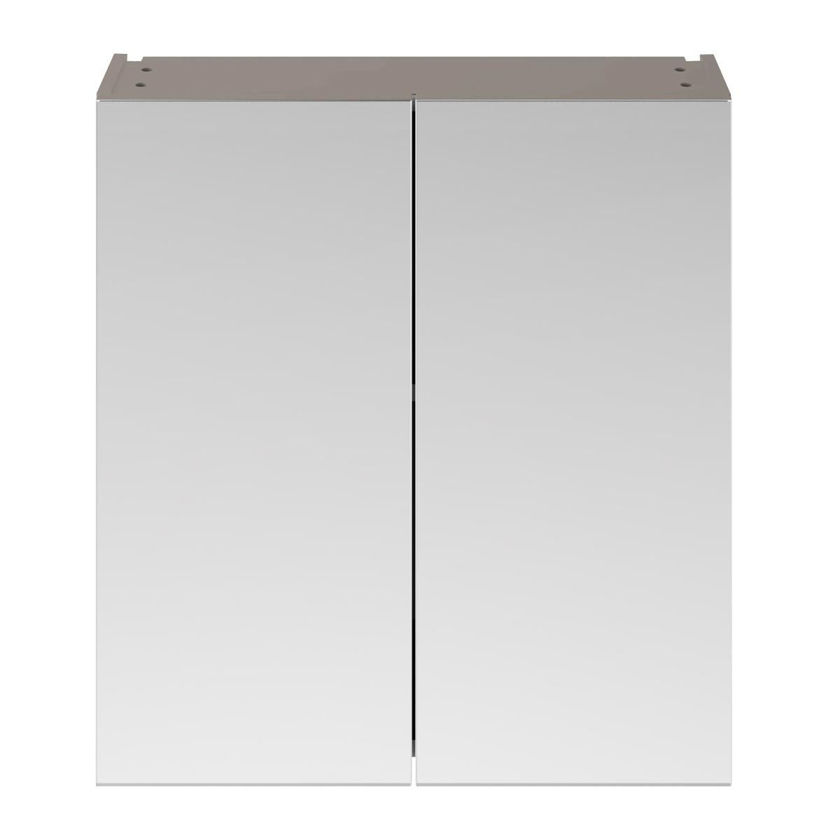 Nuie Athena Stone Grey Double Mirrored Bathroom Cabinet 800mm