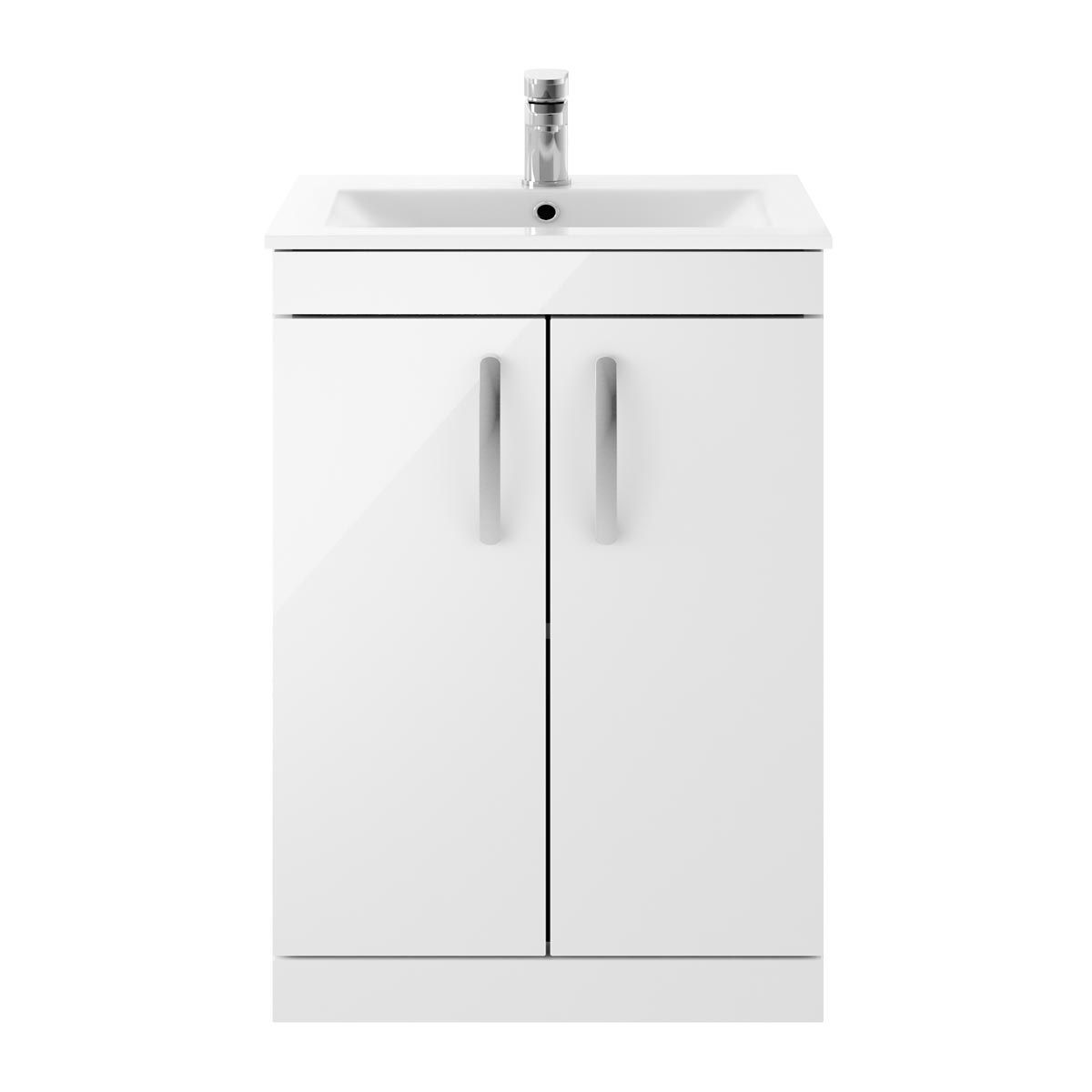 Nuie Athena Gloss White 2 Door Floor Standing Vanity Unit with 18mm Profile Basin 500mm
