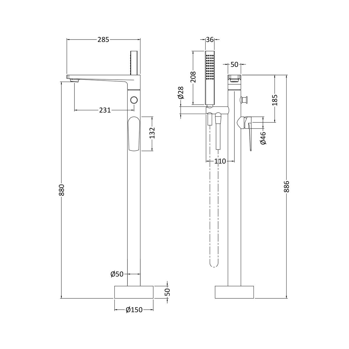 Nuie Bailey Floor Standing Bath Shower Mixer Tap Dimensions