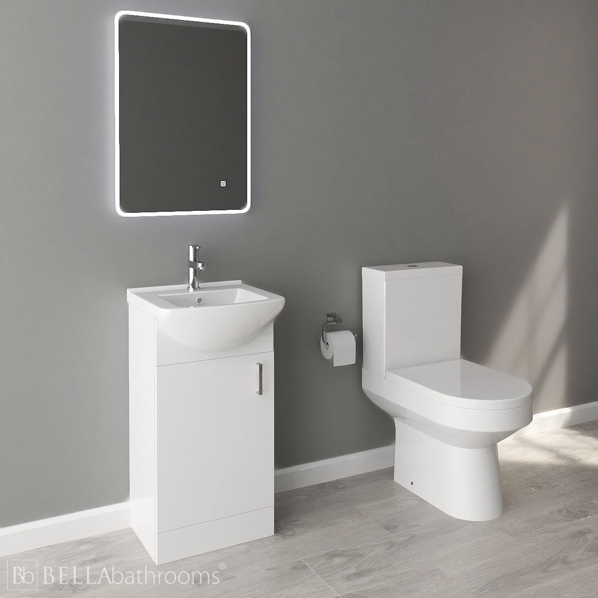 Nuie Deluxe High Gloss White Vanity Unit and Toilet Set 450mm