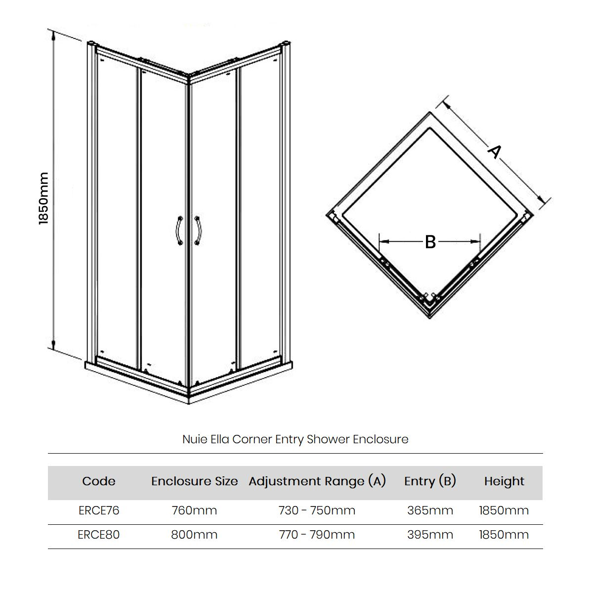 Premier Ella Corner Entry Shower Enclosure Dimensions