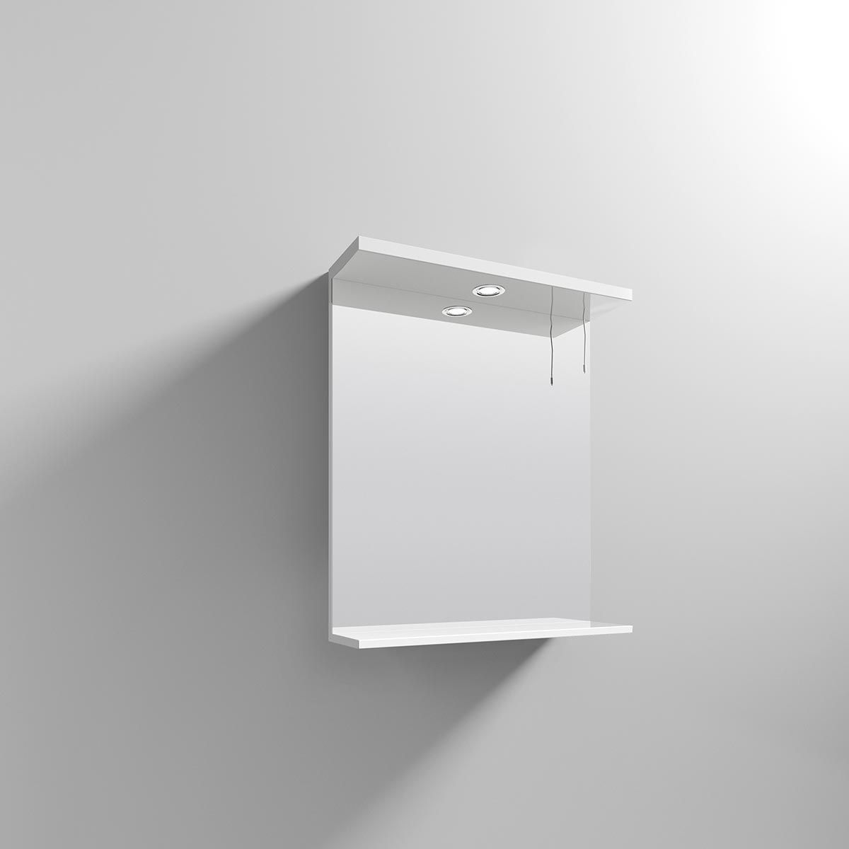 Nuie High Gloss White Bathroom Mirror and Light 650mm