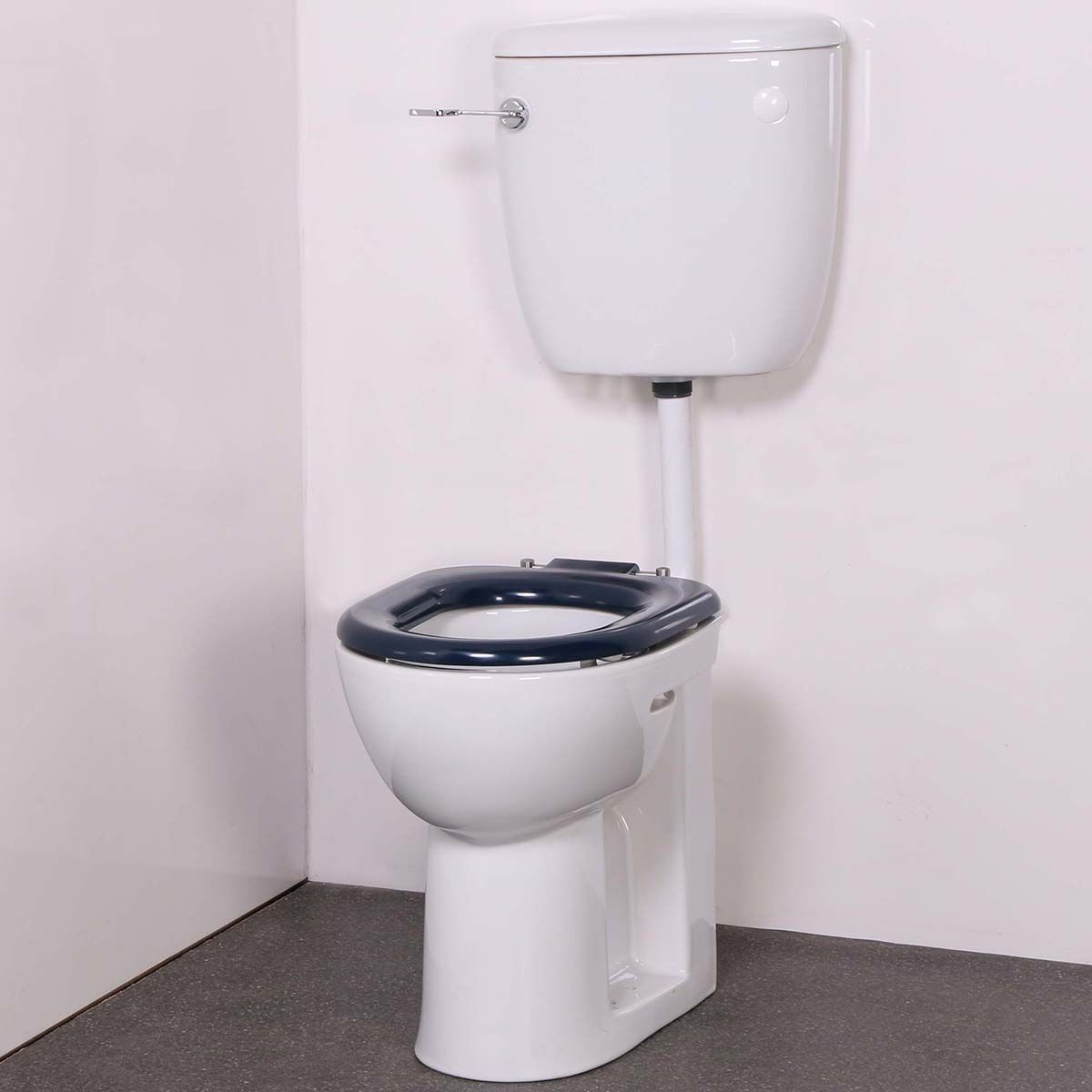 Nymas Low Level Doc M Toilet with Dark Blue Ring Seat
