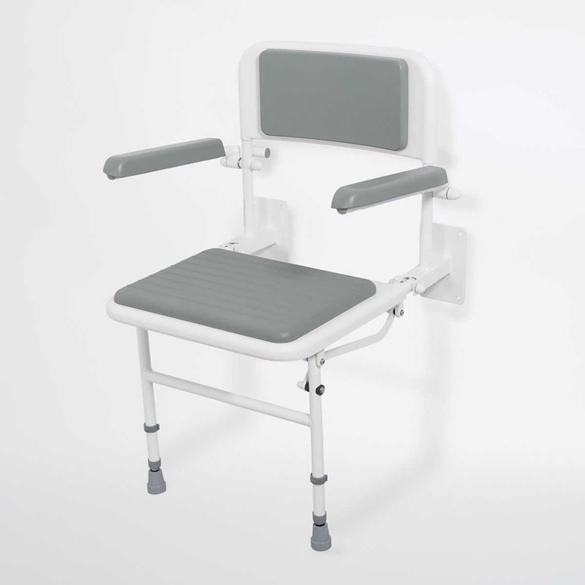 Nymas Wall Mounted Grey Padded Shower Seat with Arms & Back Support