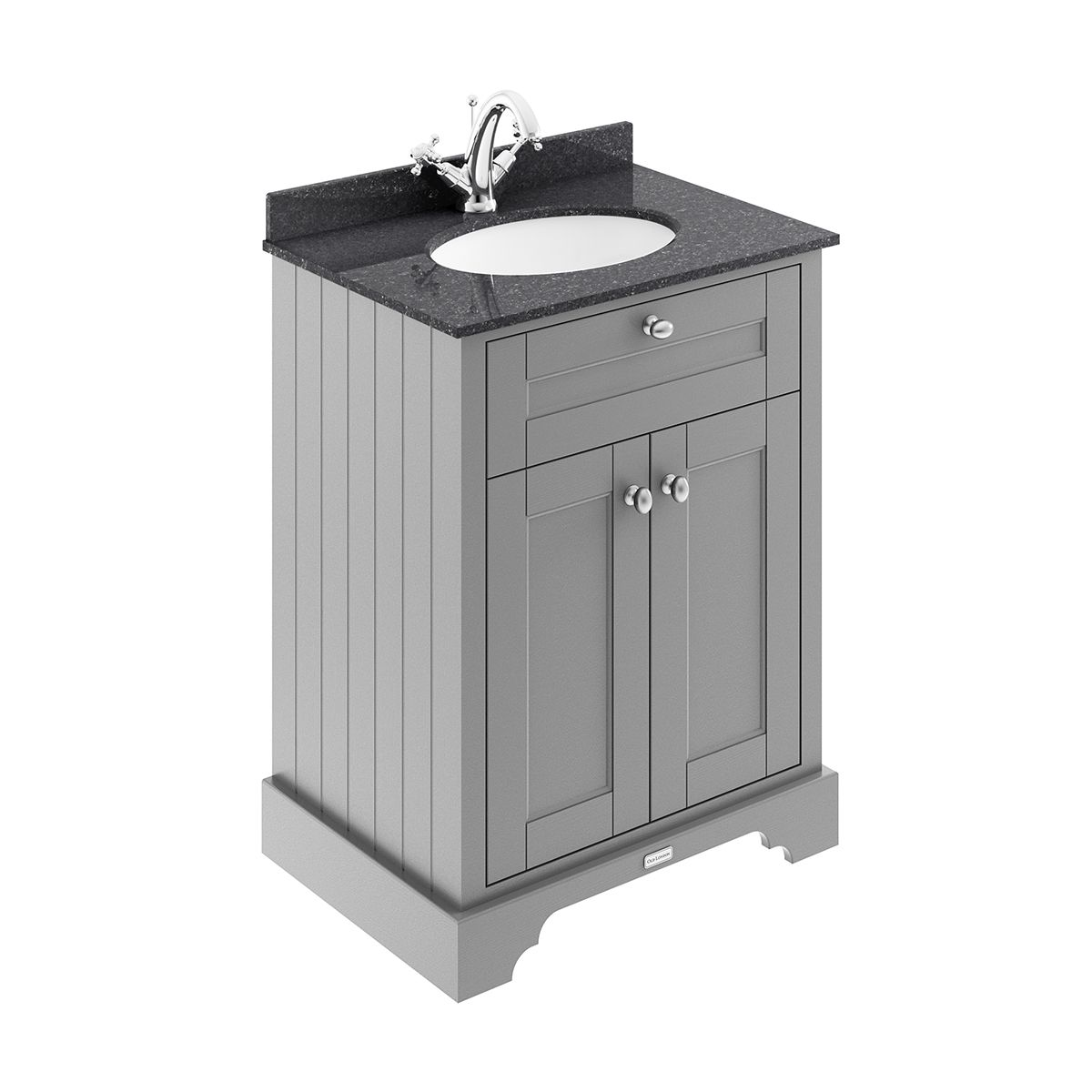 Old London Storm Grey Vanity Unit with Black Marble Top 600mm