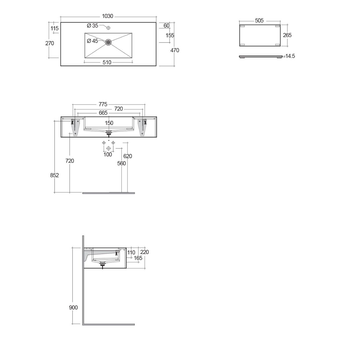 RAK Precious Surface Cool Grey Wall Hung Counter Basin 1000mm with Brackets Measurements