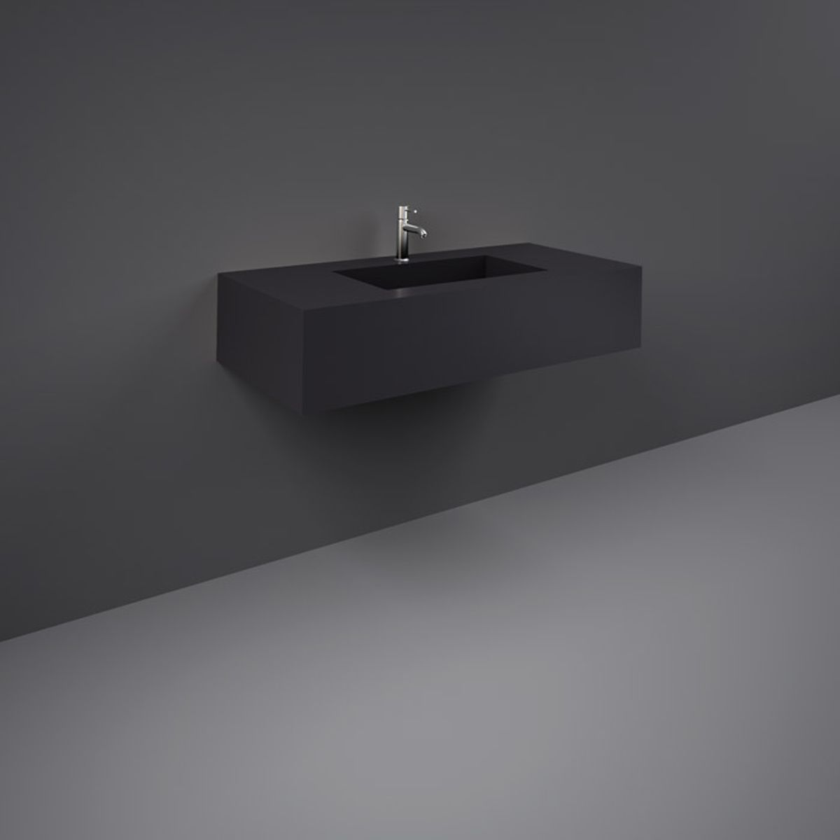 RAK Precious Uni Dark Black Wall Hung Counter Basin 1000mm with Brackets