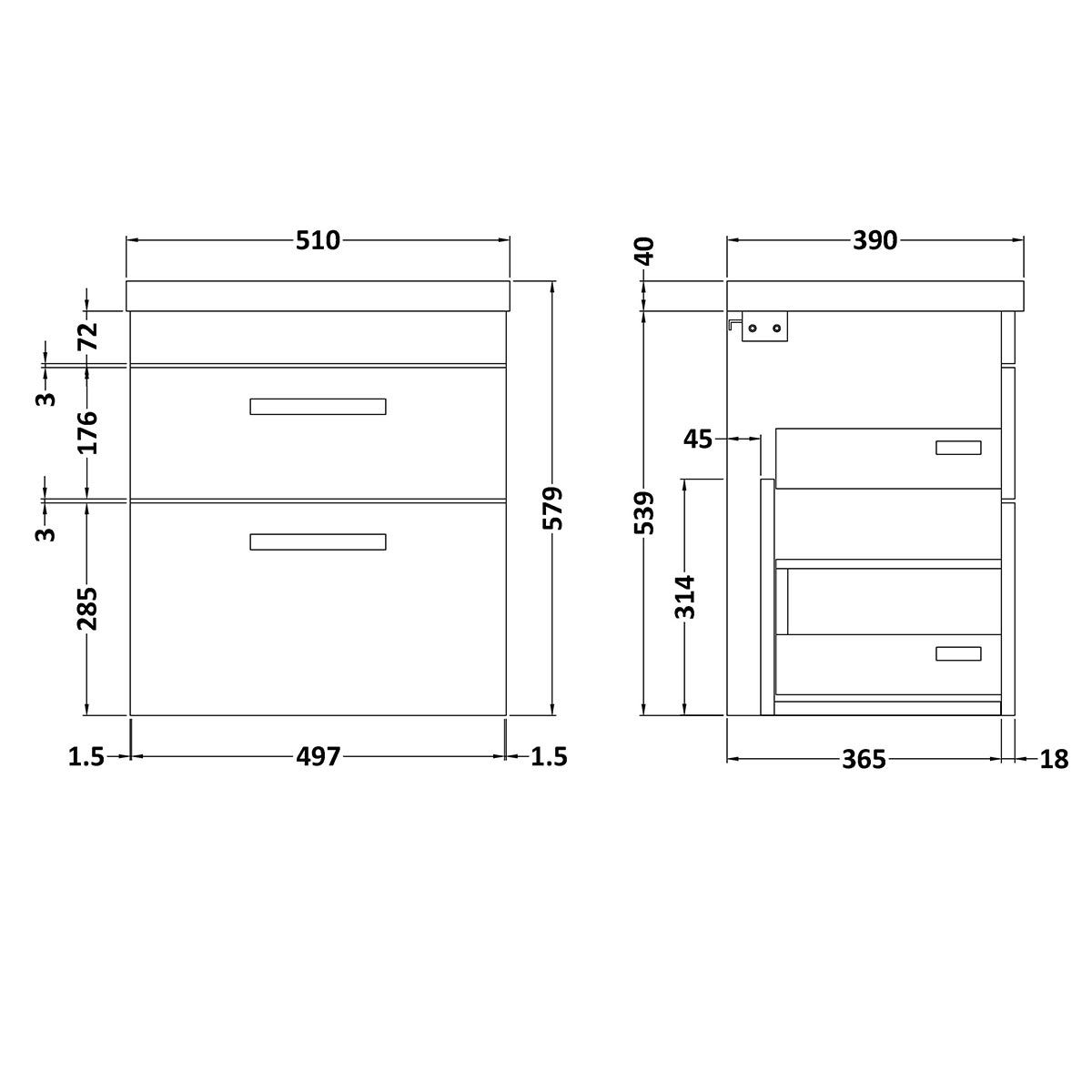 Nuie Athena Stone Grey 2 Drawer Wall Hung Vanity Unit with 40mm Profile Basin 500mm Line Drawing