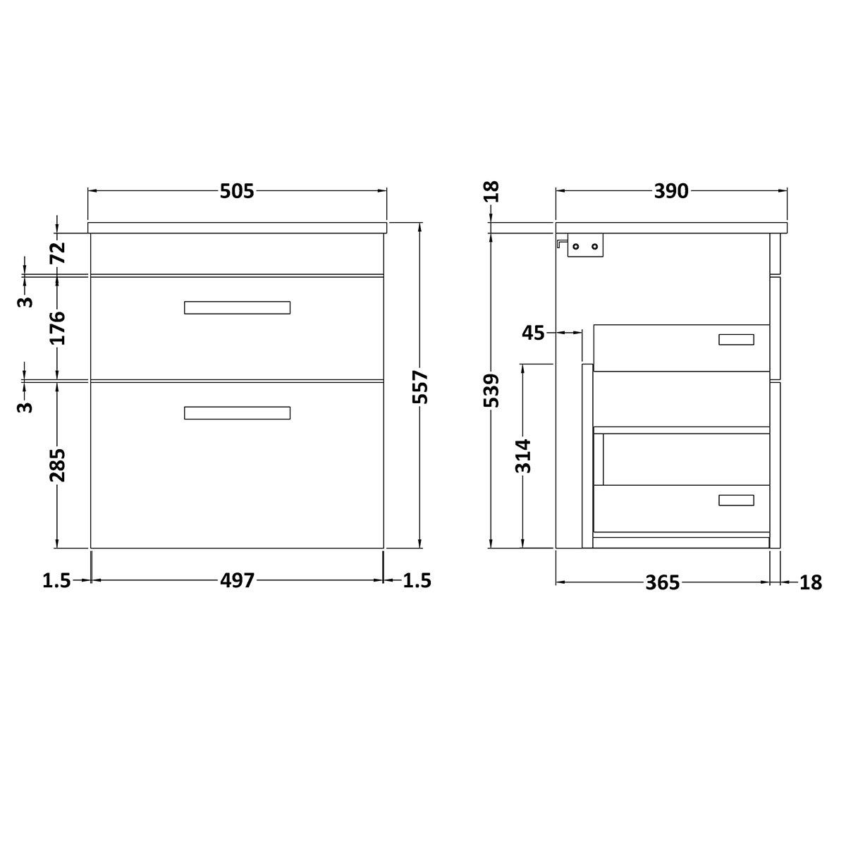 Nuie Athena Stone Grey 2 Drawer Wall Hung Vanity Unit with 18mm Worktop 500mm Line Drawing