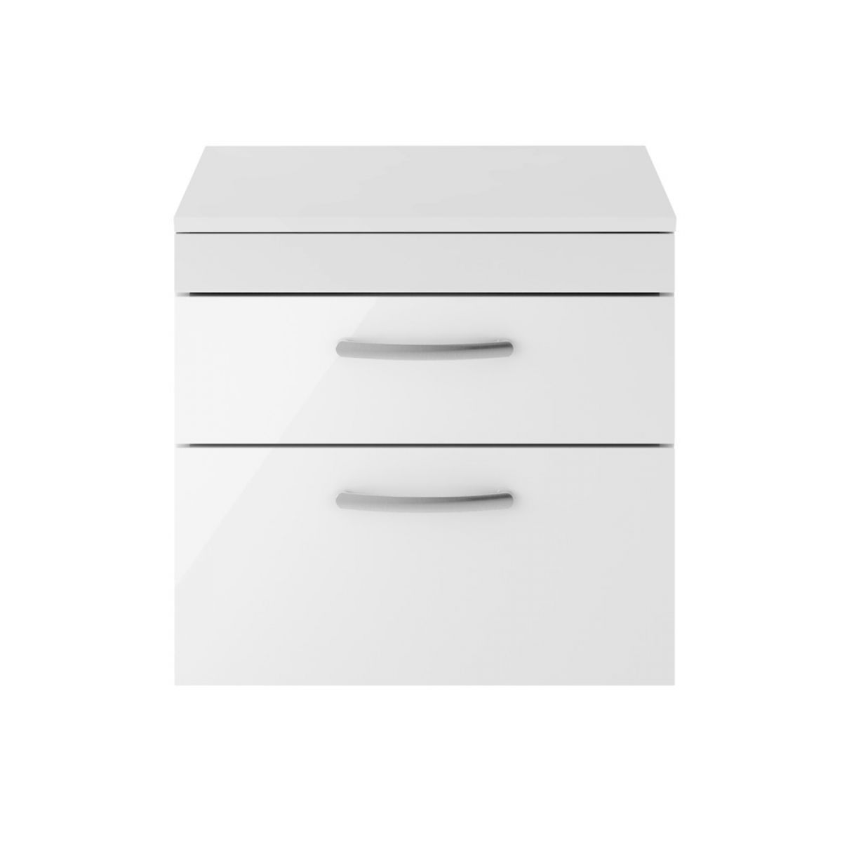 Premier Athena Gloss White 2 Drawer Wall Hung Vanity Unit 600mm with Slimline Basin