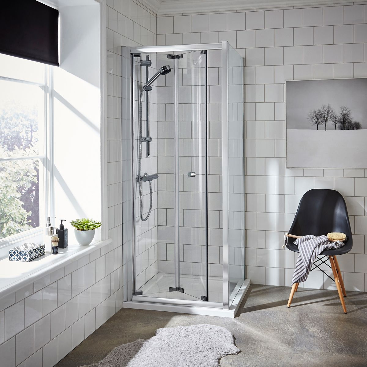 Nuie Ella Bi-Fold Shower Door with Optional Side Panel