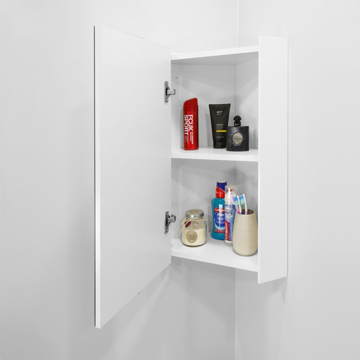 Nuie High Gloss White Corner Mirror Cabinet