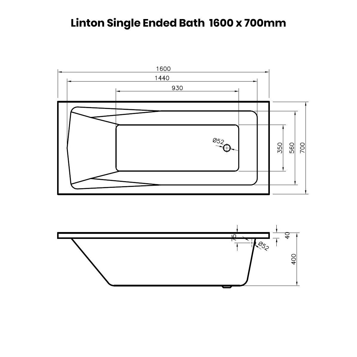 Nuie Linton Shower Bath 1600 x 700mm Drawing