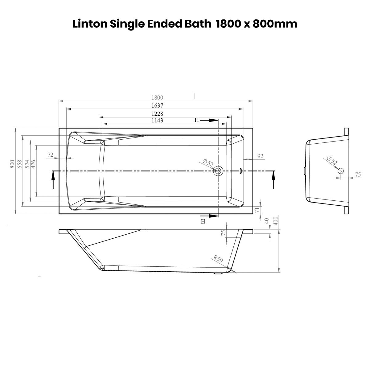 Nuie Linton Straight Shower Bath 1800 x 800mm Dimensions