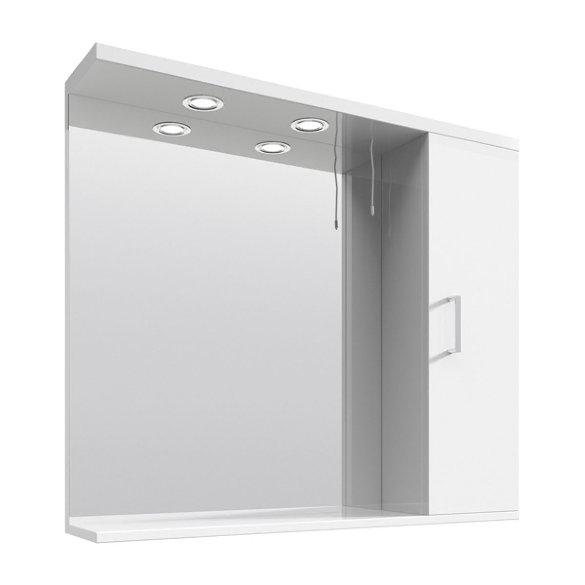 Premier High Gloss White Bathroom Mirror Cabinet with Lights 850mm
