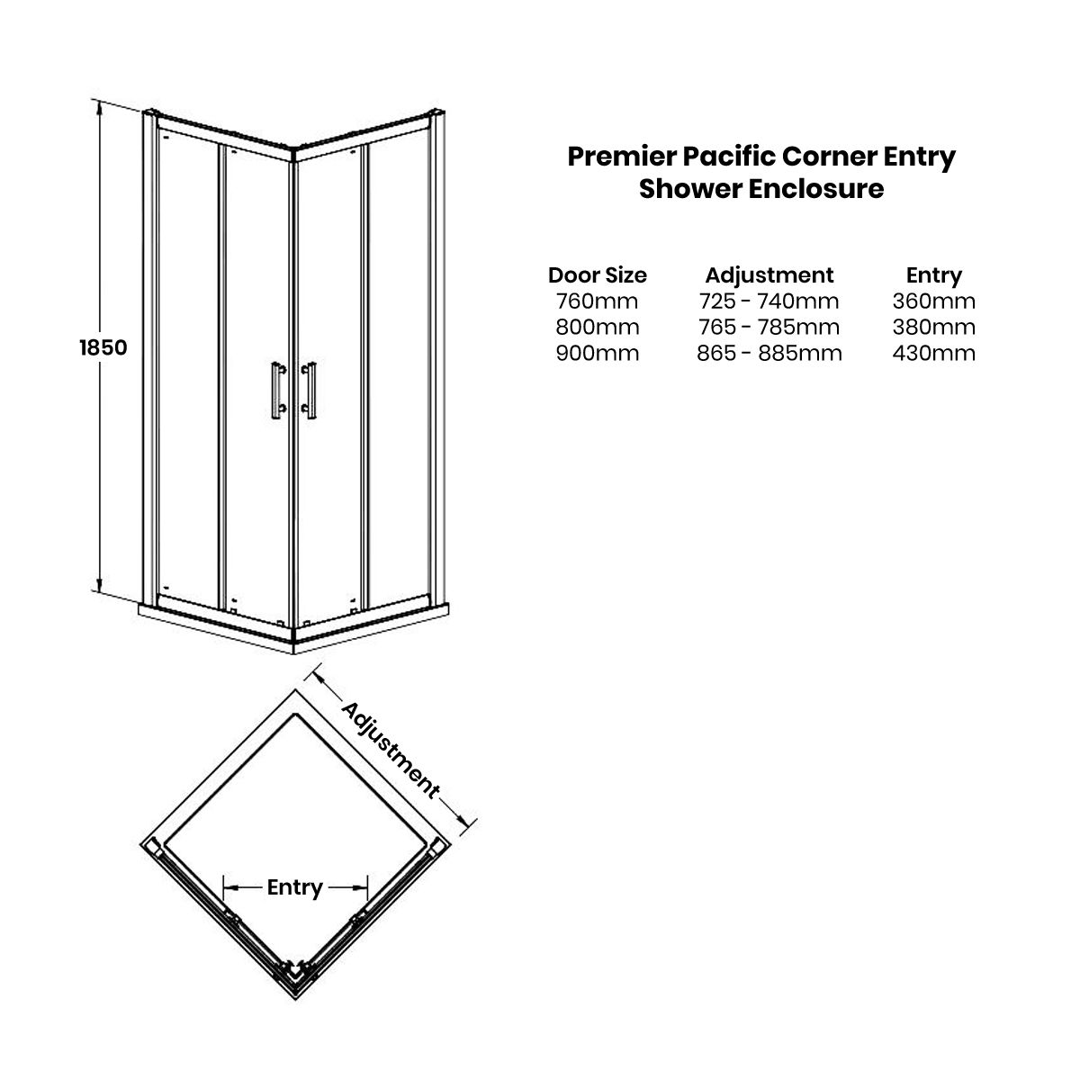 Nuie Pacific Corner Entry Shower Enclosure Dimensions