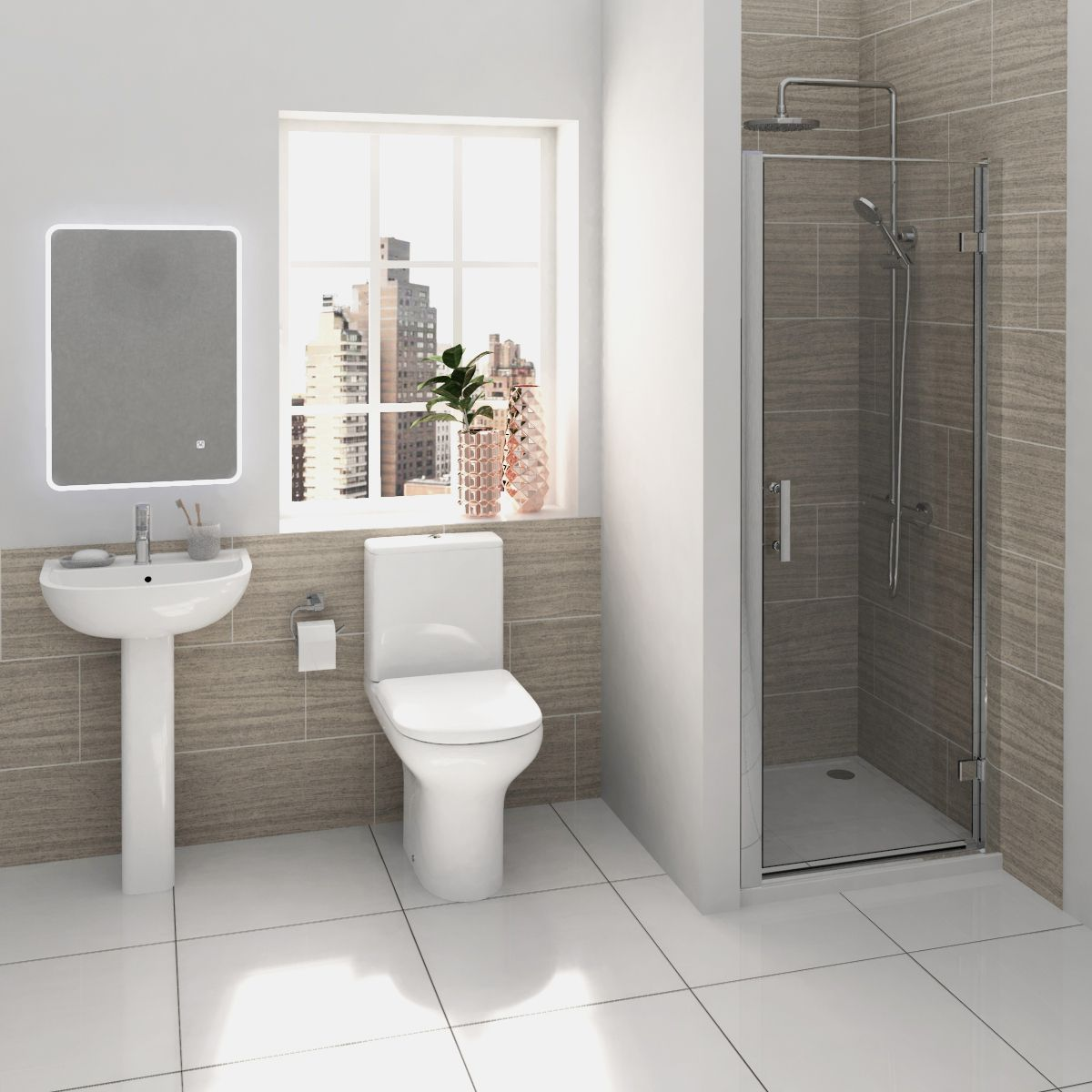 RAK Compact Shower Suite with Pacific Hinged Door Shower Enclosure Recess