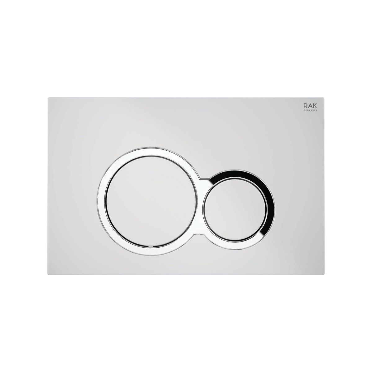 RAK Ecofix White Flush Plate with Surrounded Round Push Buttons