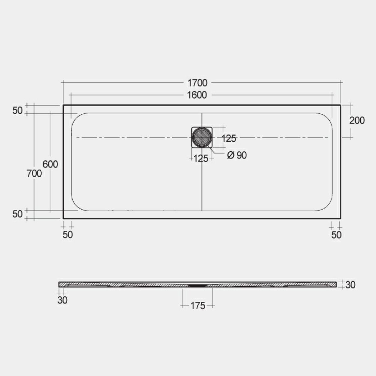 RAK Feeling Cappuccino Rectangular Shower Tray 1700 x 700mm Measurements