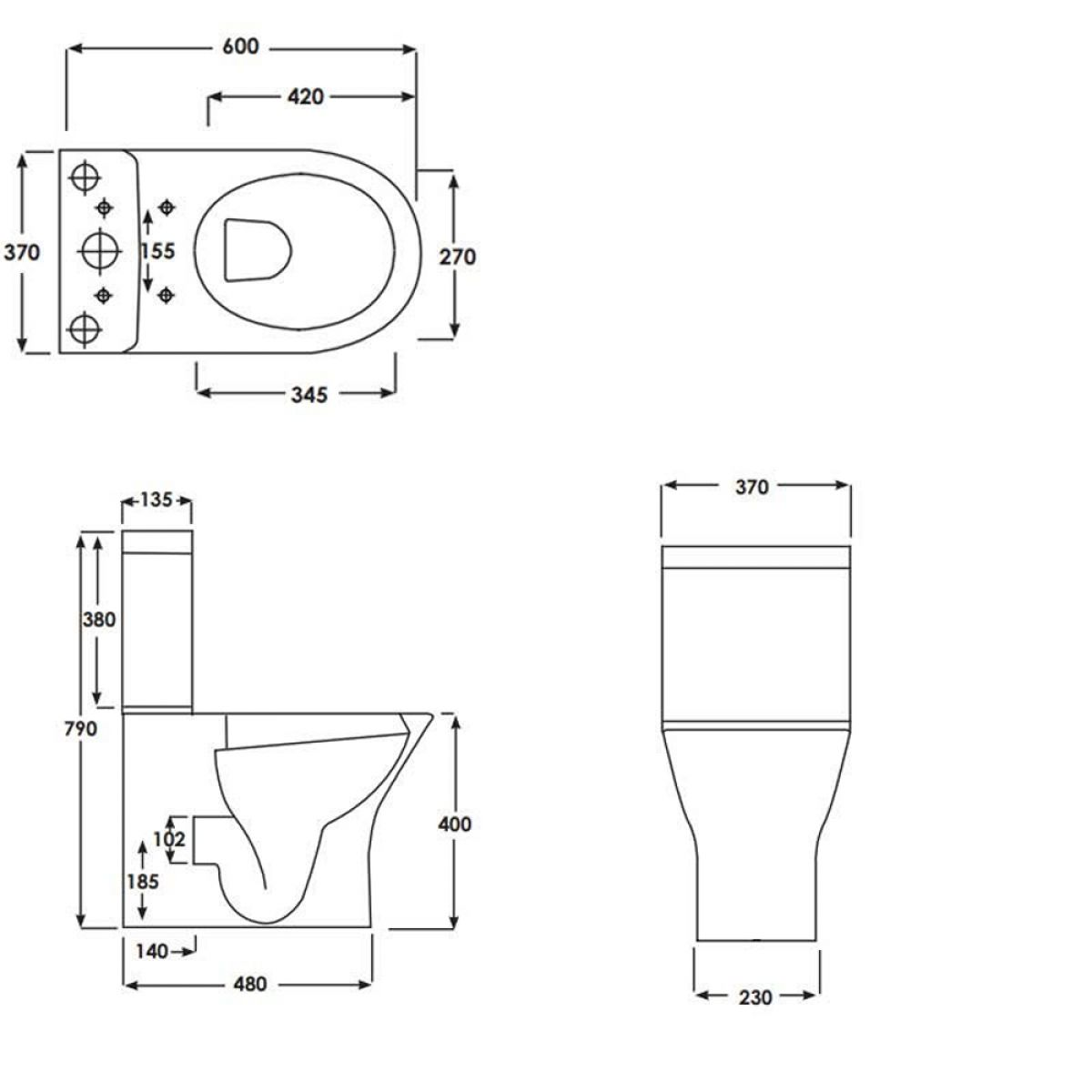 RAK Resort Mini Back To Wall Close Coupled Toilet Measurements