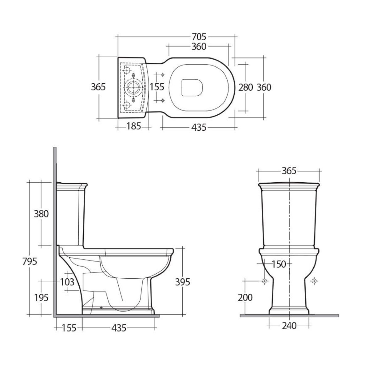 RAK Washington Full Access Close Coupled Toilet Measurements