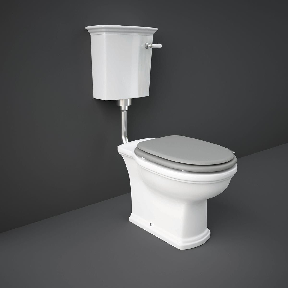 RAK Washington Low Level WC with Matt Grey Soft Close Seat (Wood)
