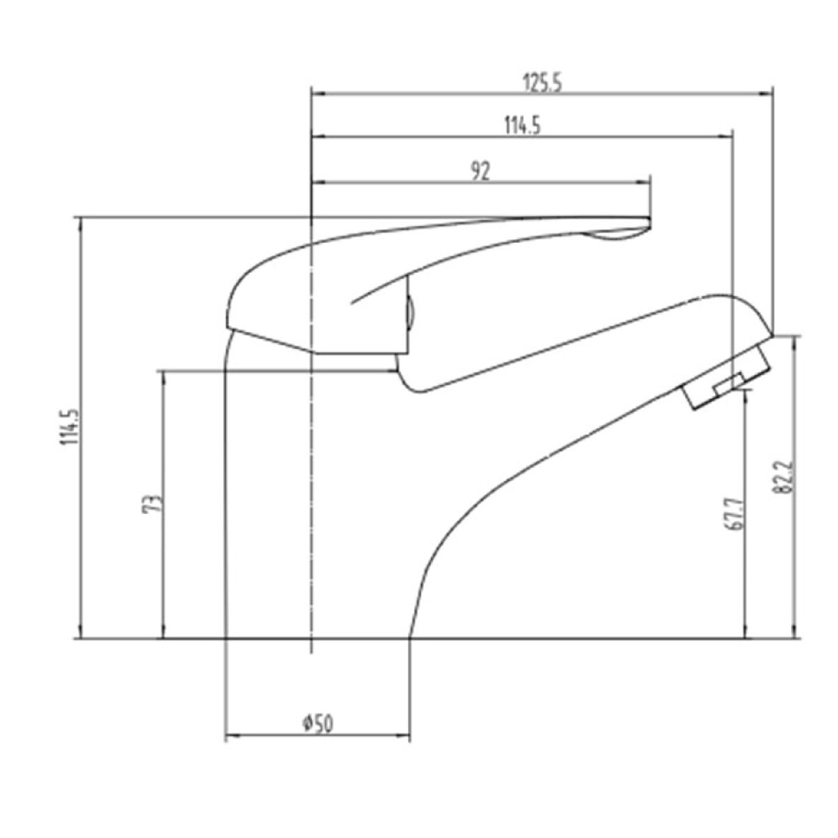 RAK Basic Mono Basin Mixer Tap with Waste Measurements
