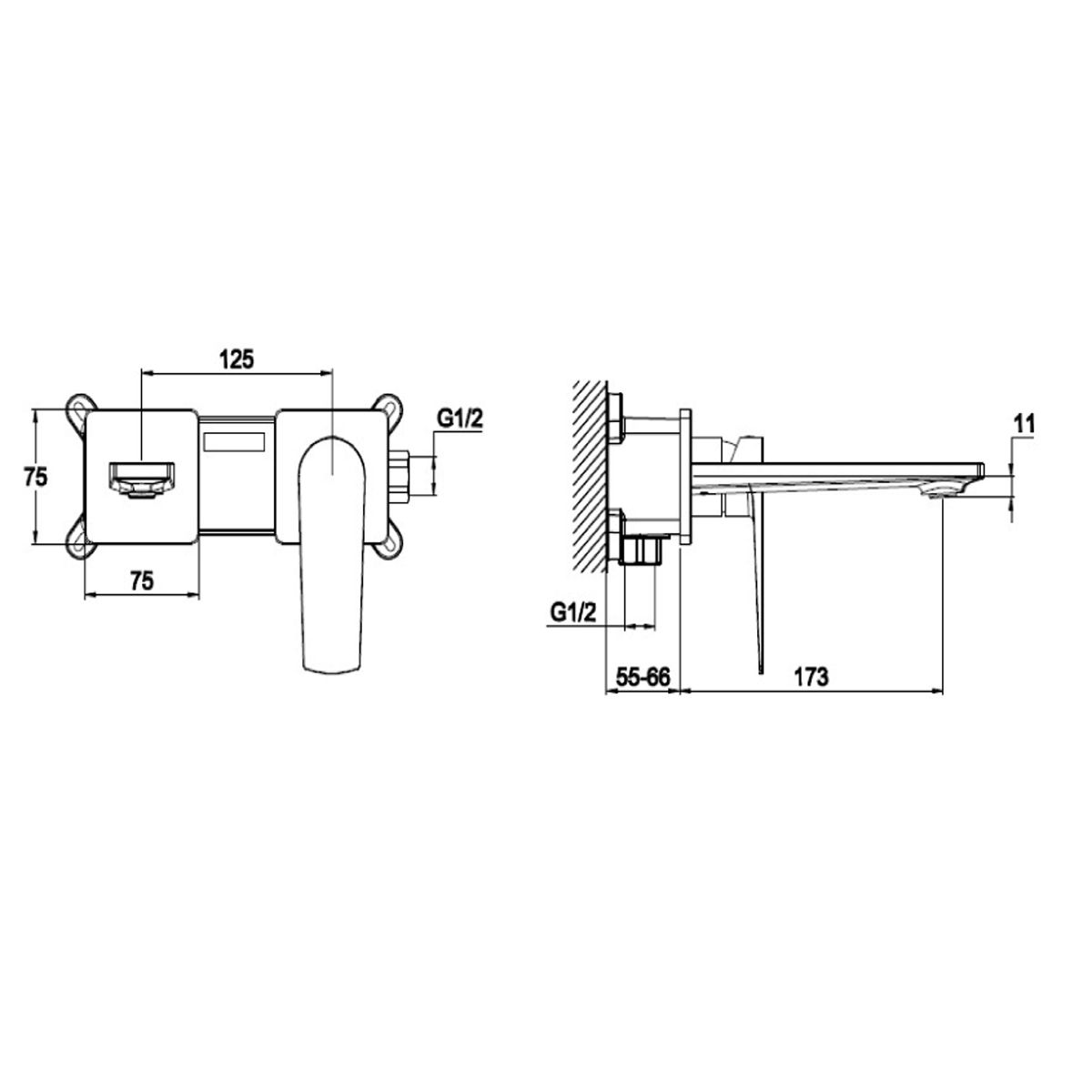 RAK Blade Wall Mounted Basin Mixer Tap Measurements