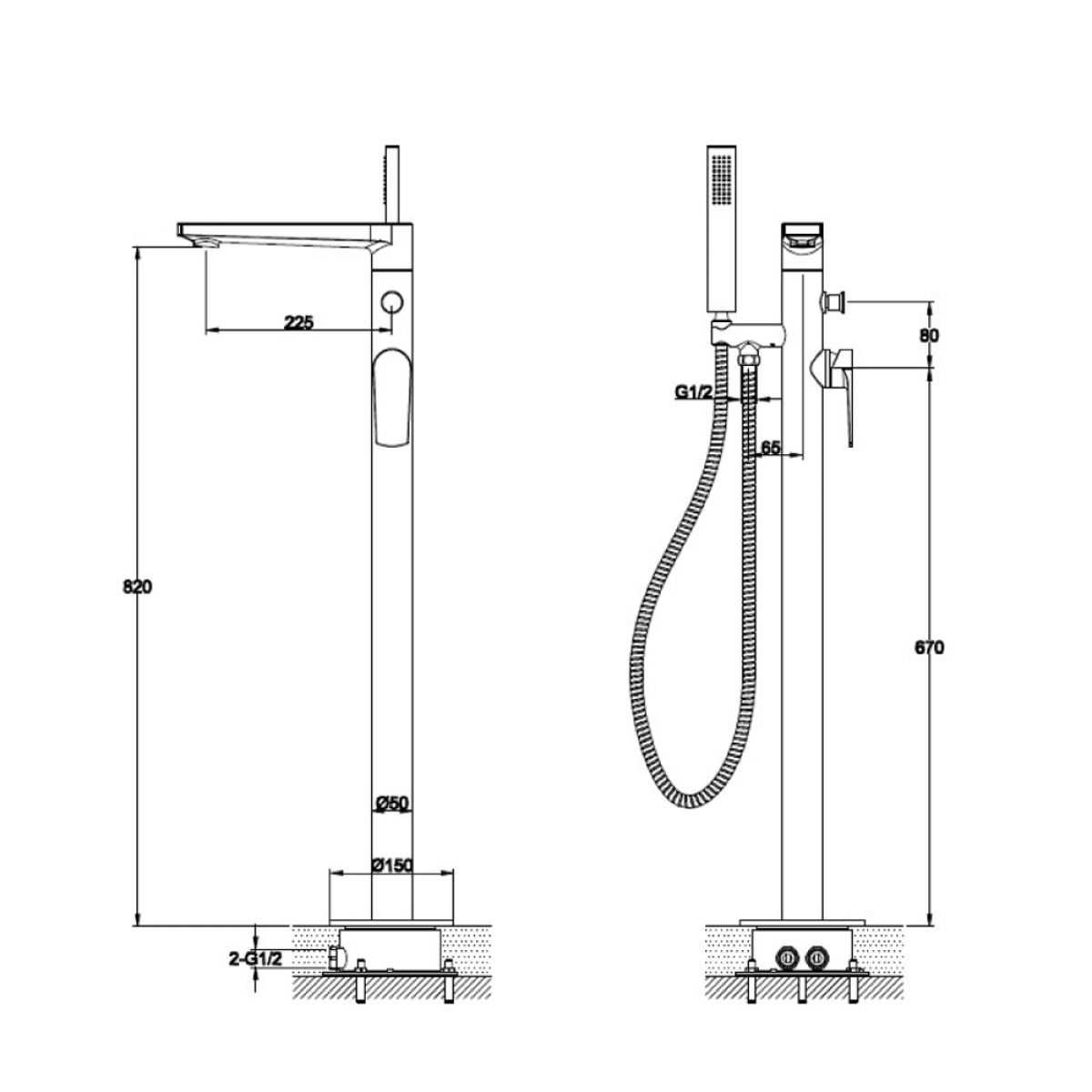 RAK Blade Freestanding Shower Bath Mixer Tap Measurements