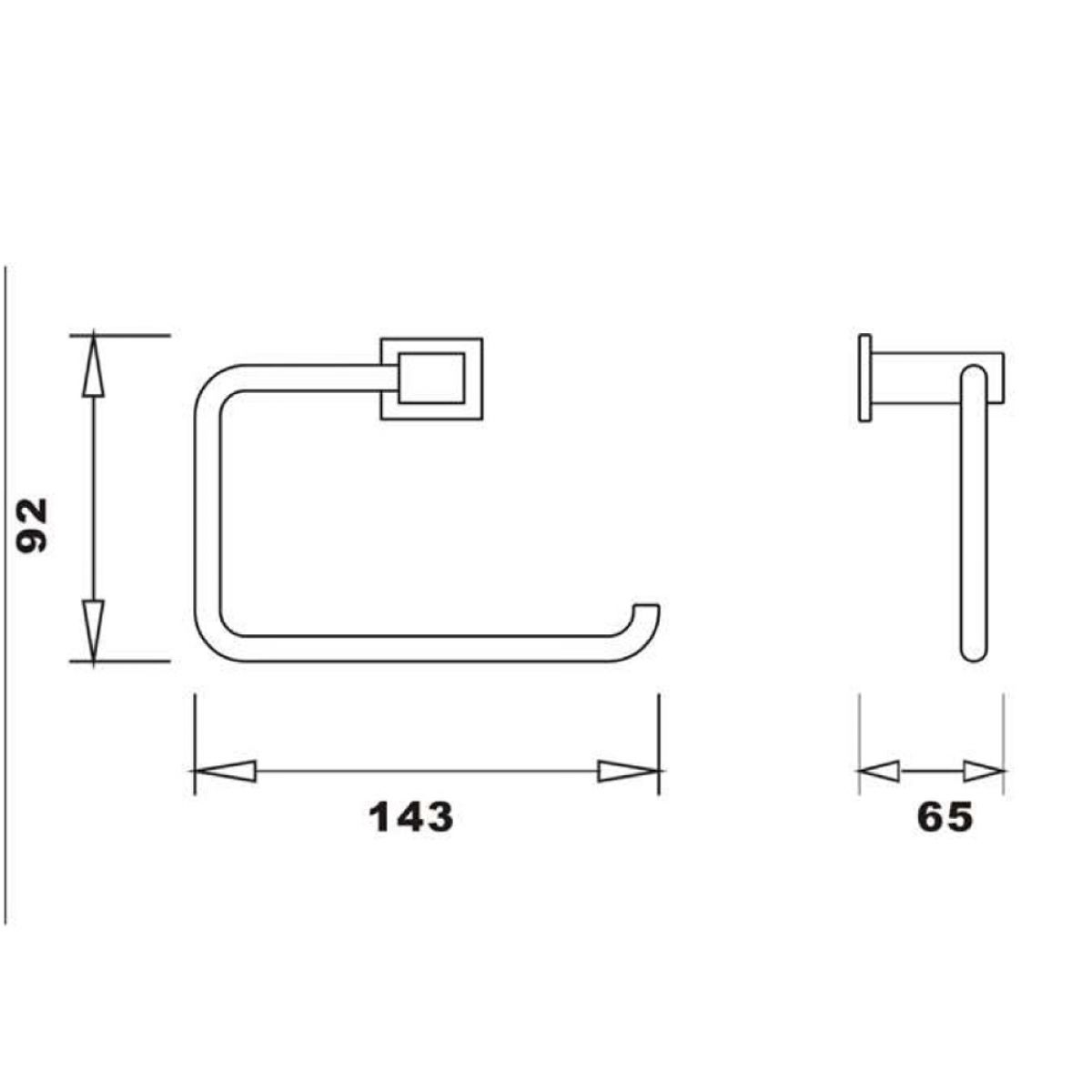 RAK Cubis Black Toilet Roll Holder Measurements