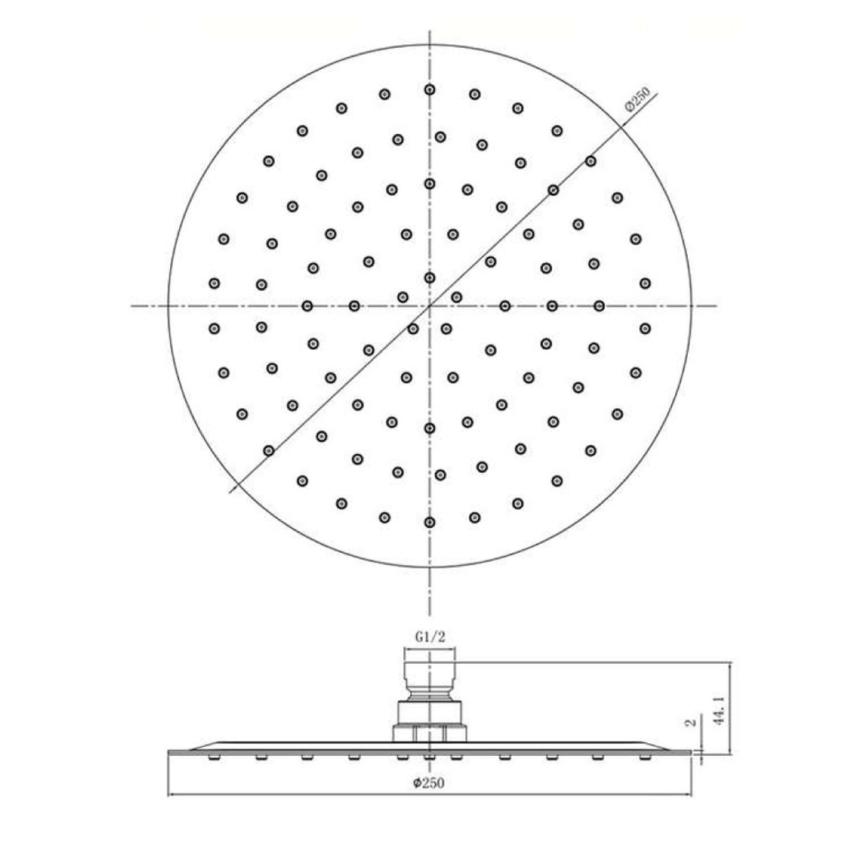 RAK Chrome Round Ultra Slim Air Induction Shower Head 250mm Measurements
