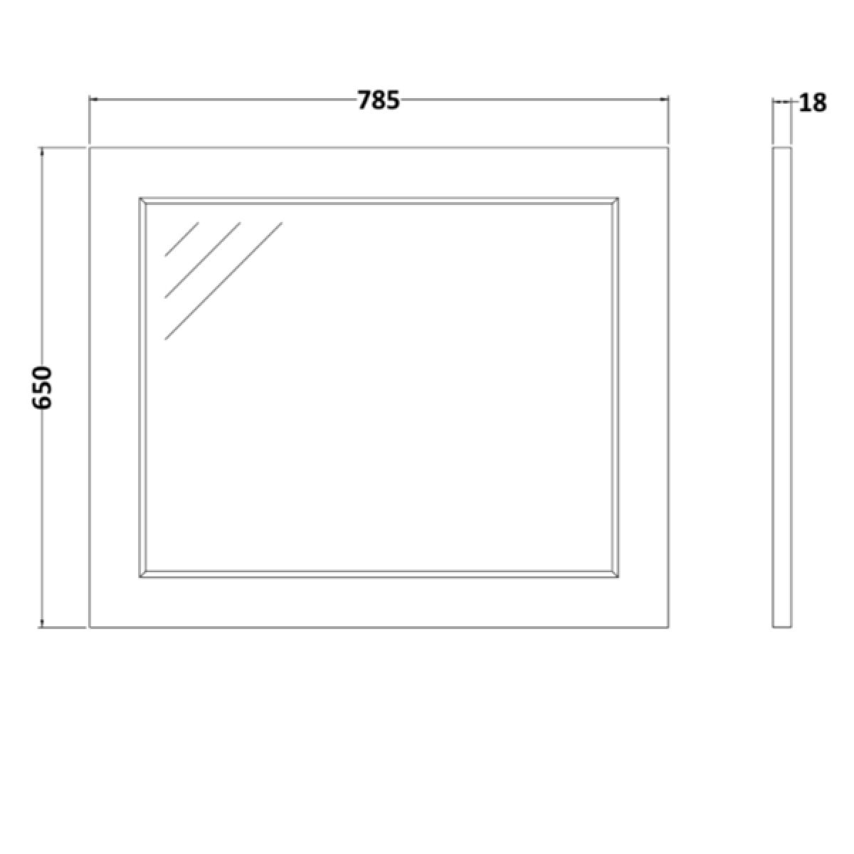 RAK Washington Black Bathroom Mirror 800mm Measurements