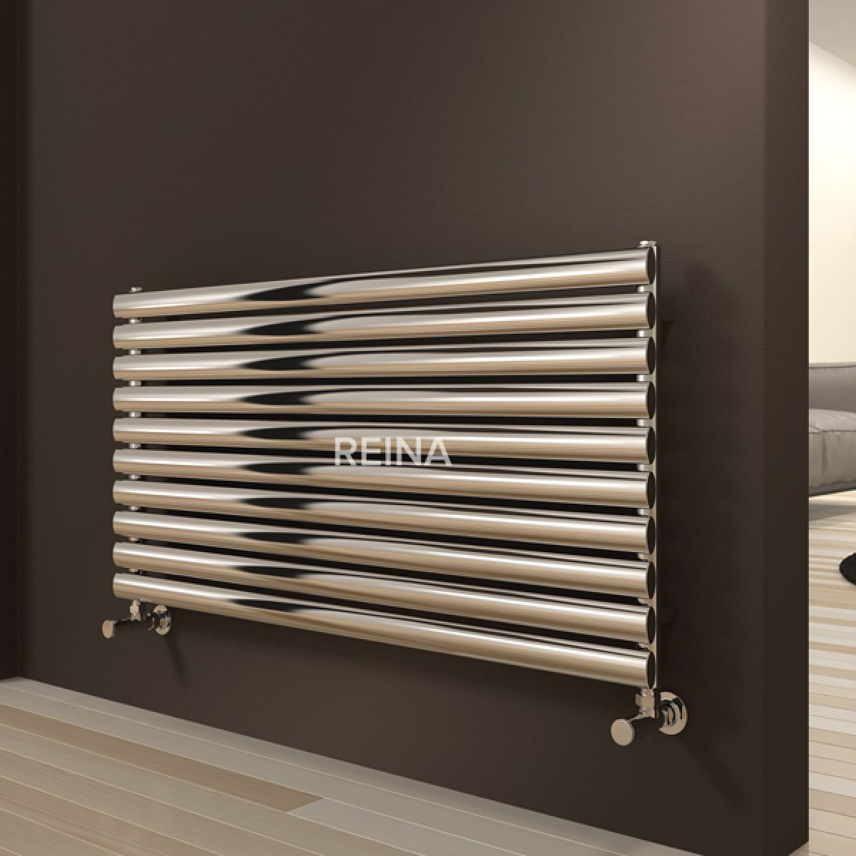 Reina Artena Polished Single Panel Steel Radiator 590 x 600mm
