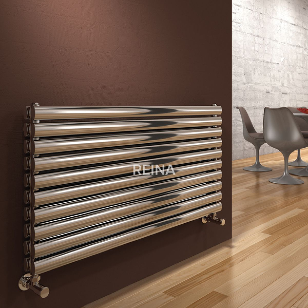 Reina Artena Polished Double Panel Steel Radiator 590 x 800mm