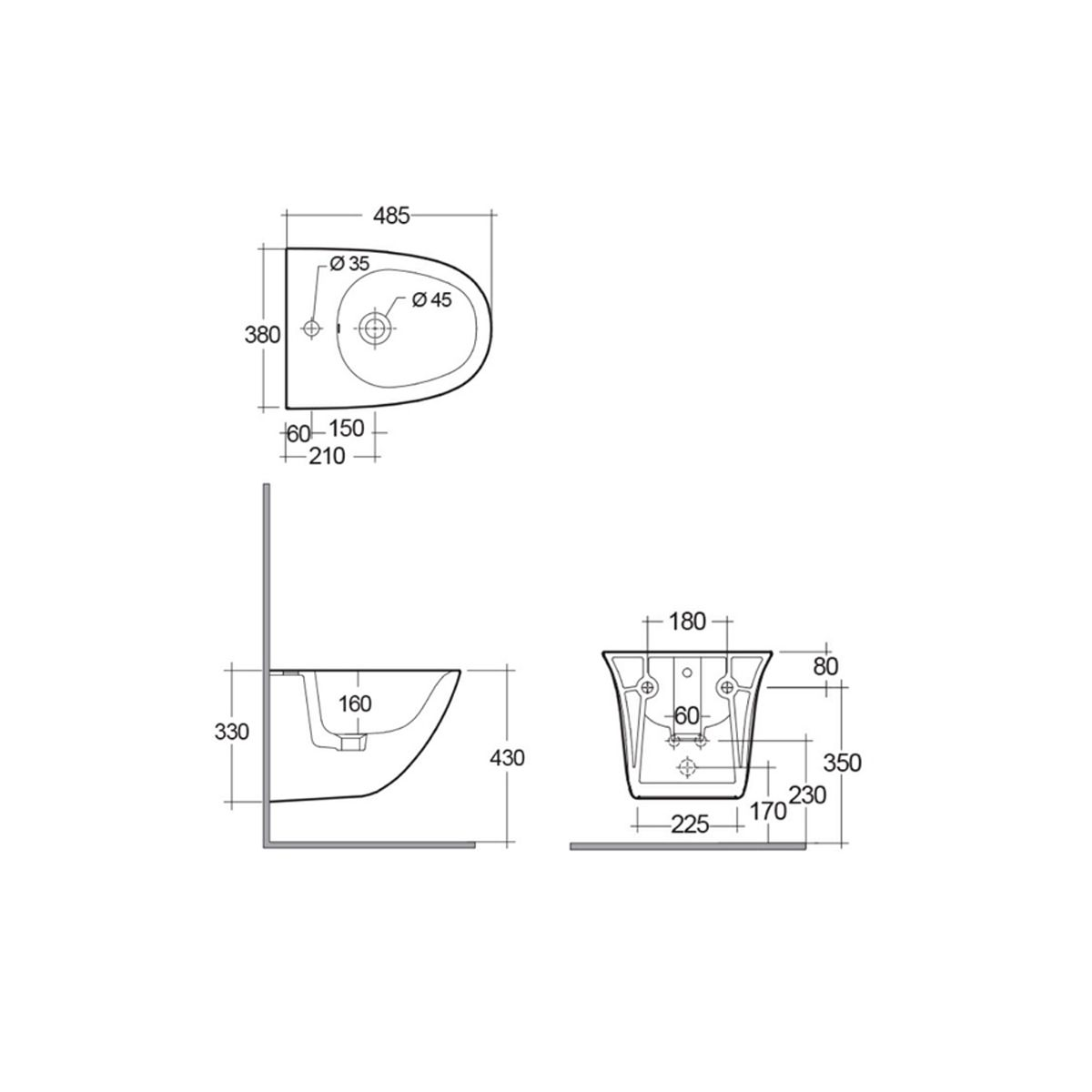 RAK Sensation Mini Wall Hung Bidet Measurements