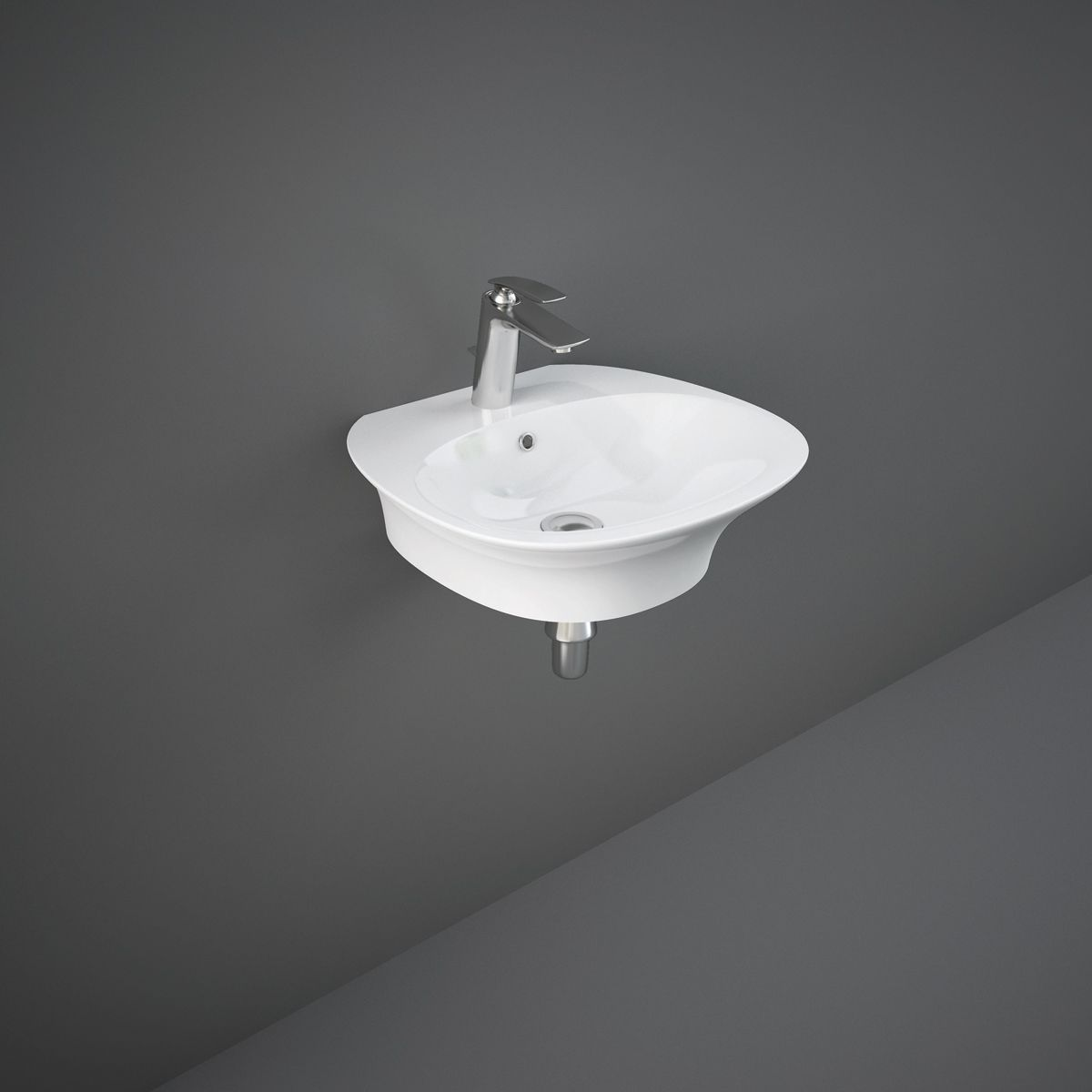 RAK Sensation Gloss White 1 Tap Hole Wall Hung Basin 550mm