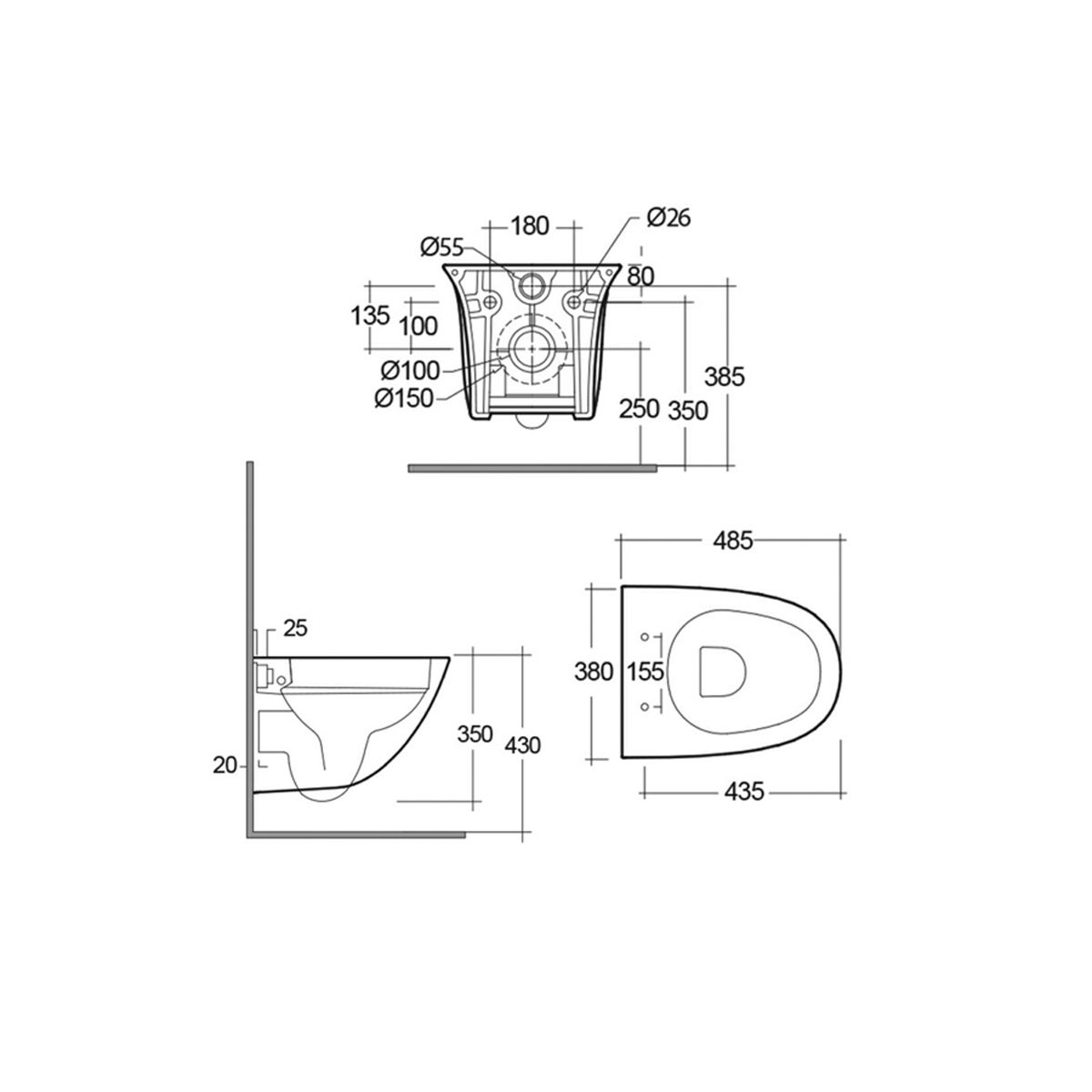 RAK Sensation Mini Wall Hung Toilet with Soft Close Seat